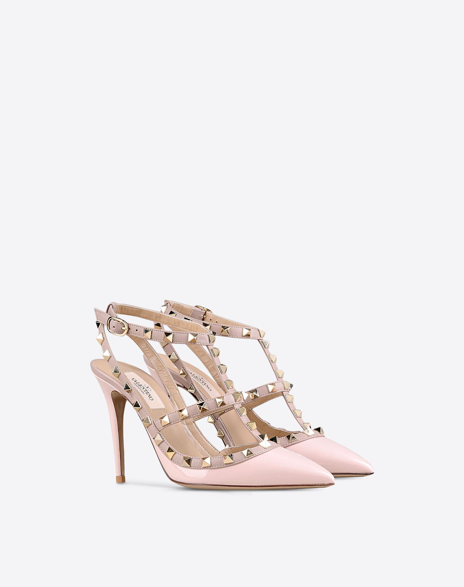 VALENTINO Studs Leather sole Narrow toeline Spike heel Buckling ankle strap closure Varnished effect  44882612hl