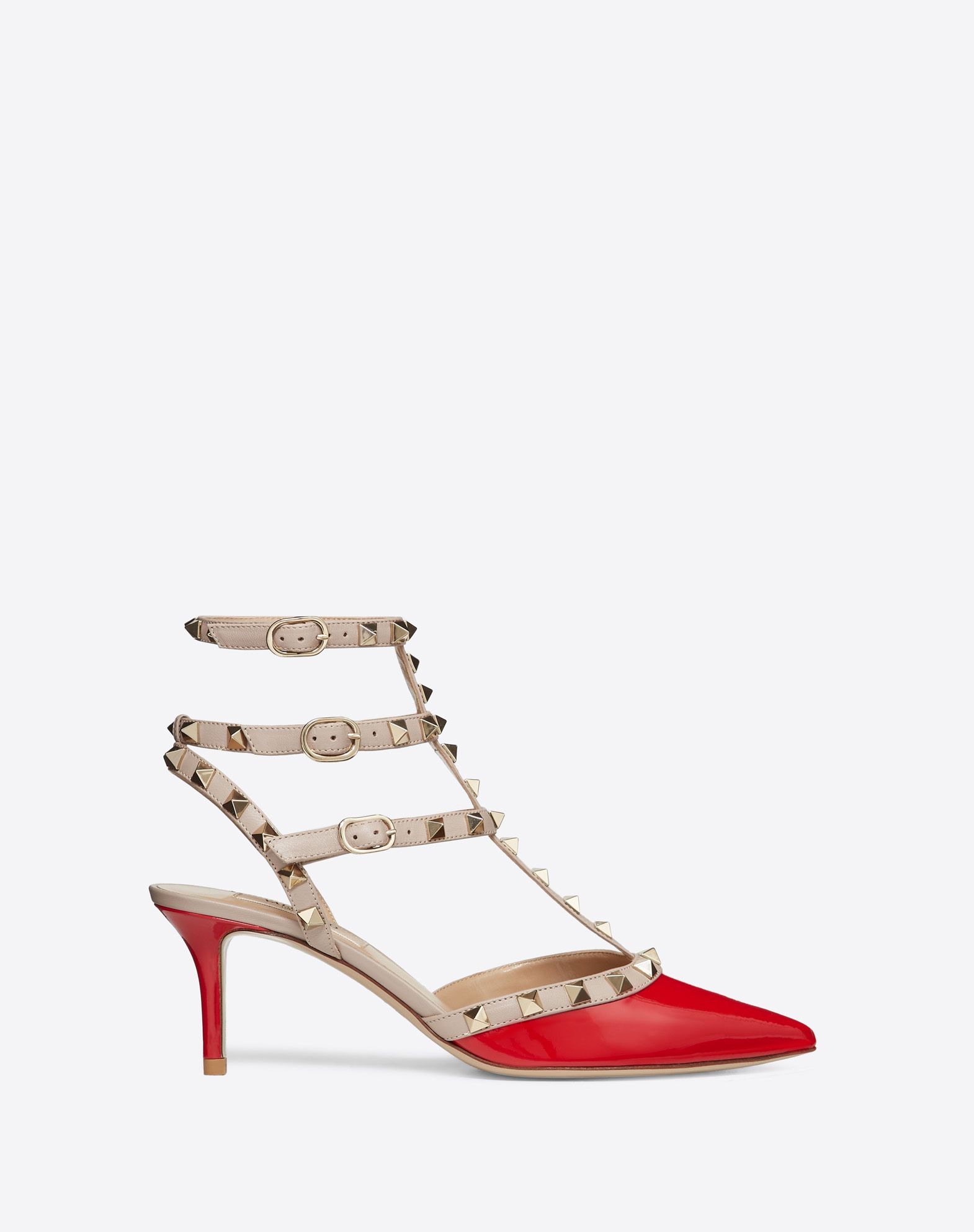 VALENTINO Varnished effect Contrasting applications Buckle Leather sole Covered heel Narrow toeline  44887027cr