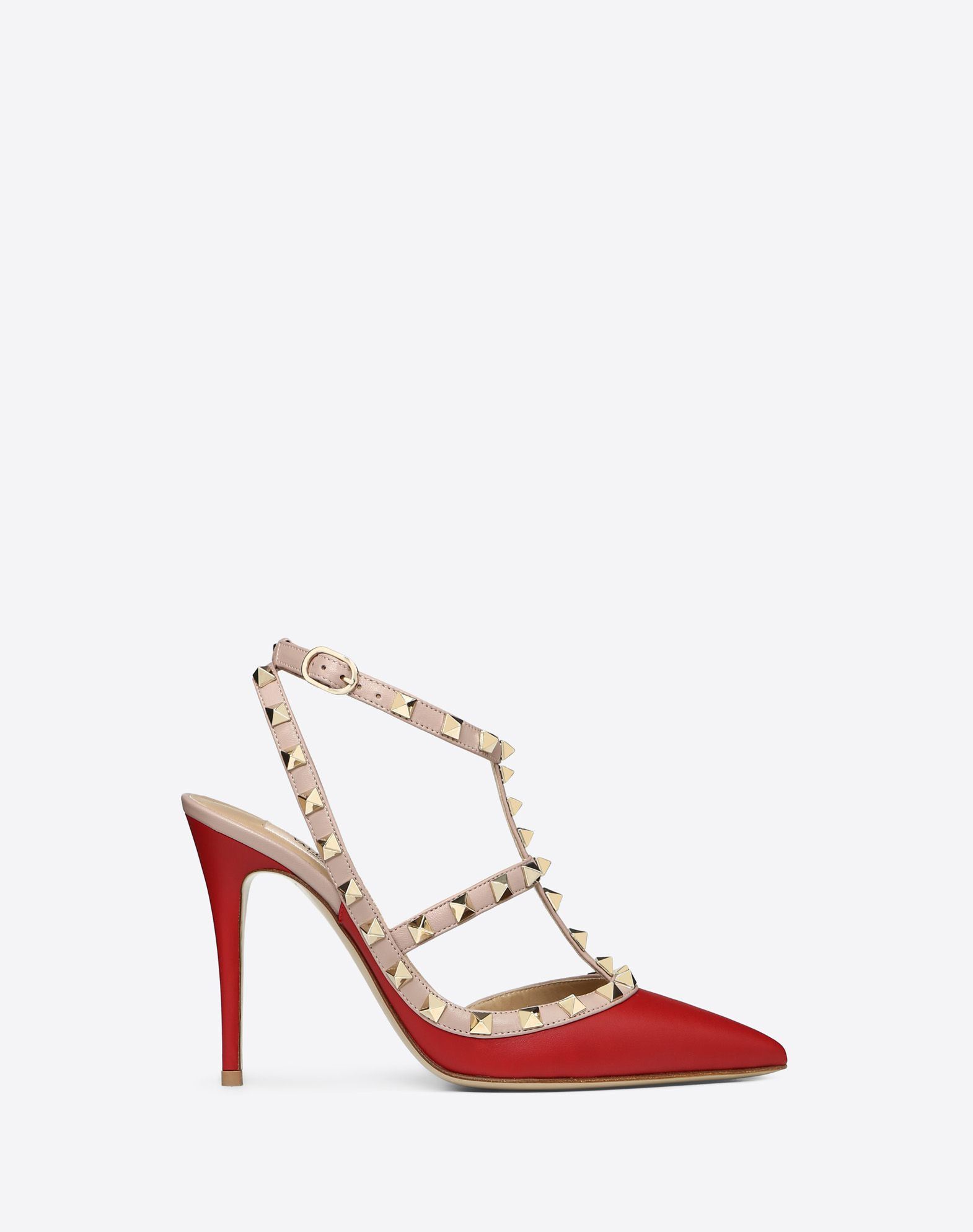 VALENTINO Contrasting applications Buckle Leather sole Narrow toeline Spike heel  44899895nq
