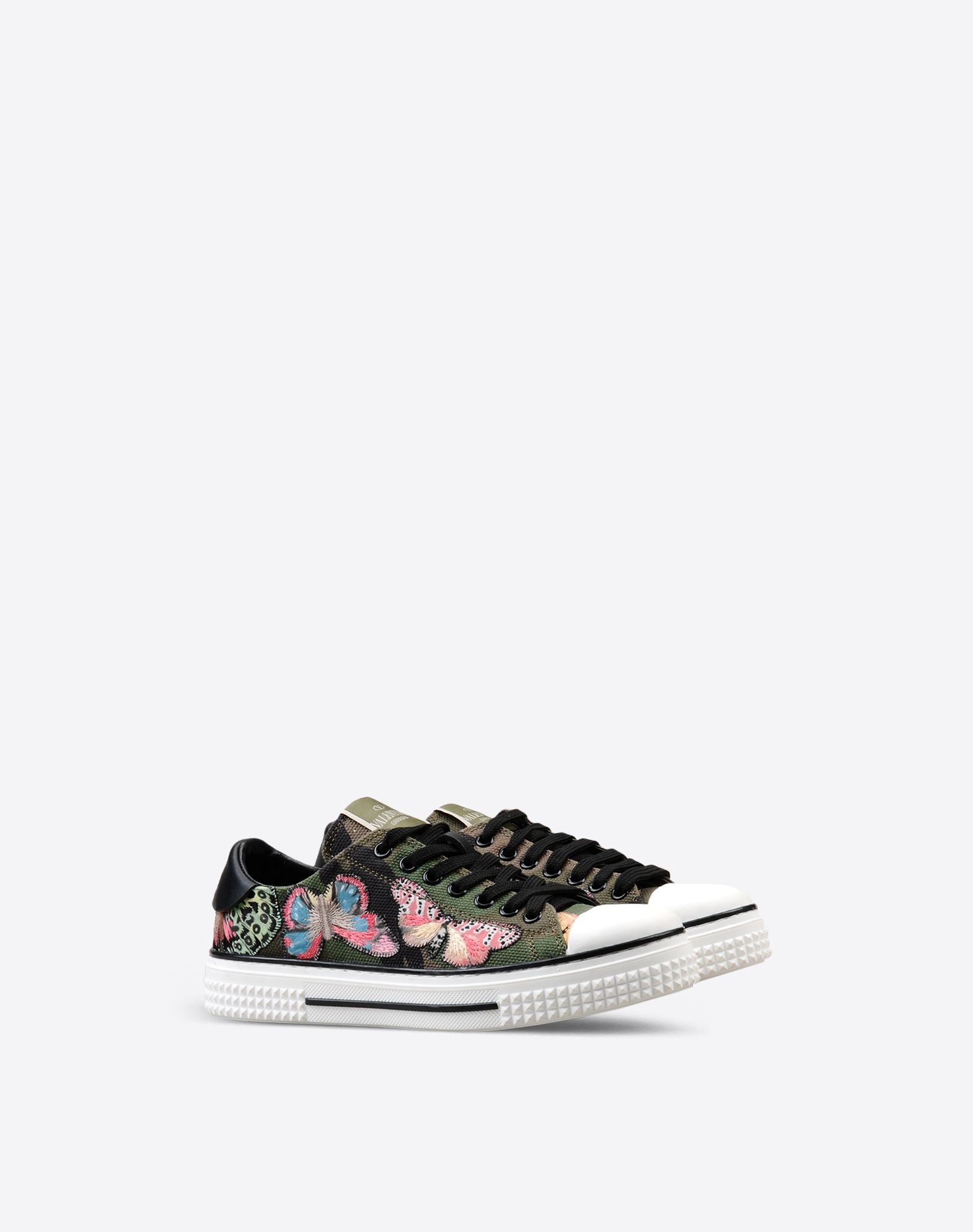 VALENTINO Contrasting applications Logo detail Canvas Multicolour Pattern Laces Rubber sole Round toeline  44910352fe