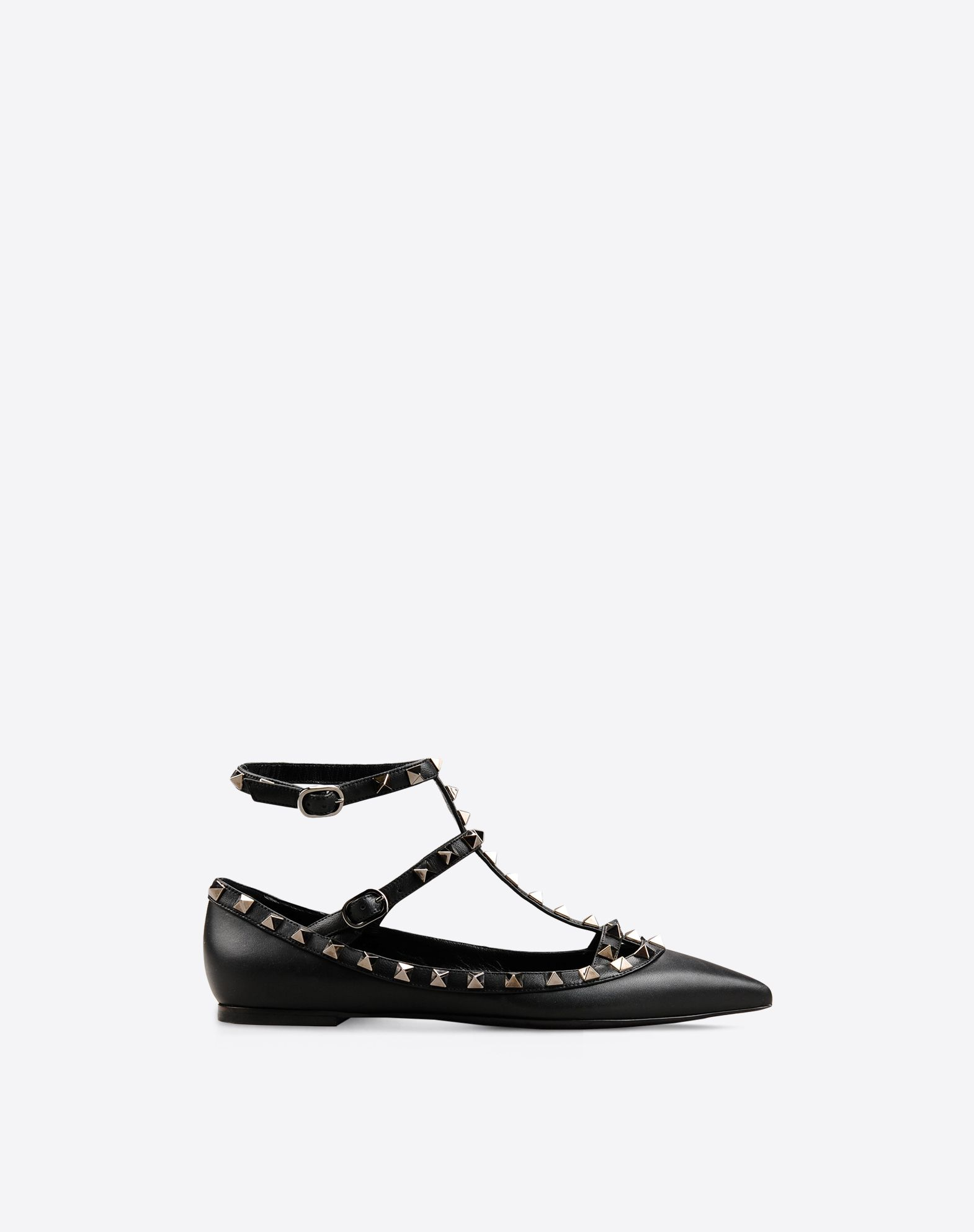 VALENTINO Studs Solid color Buckling ankle strap closure Leather sole Narrow toeline  44910399of
