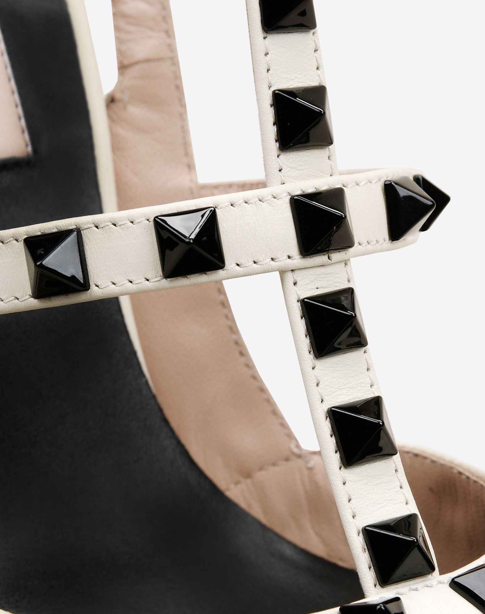 VALENTINO Studs Solid color Buckling ankle strap closure Leather sole Narrow toeline Spike heel  44917862en