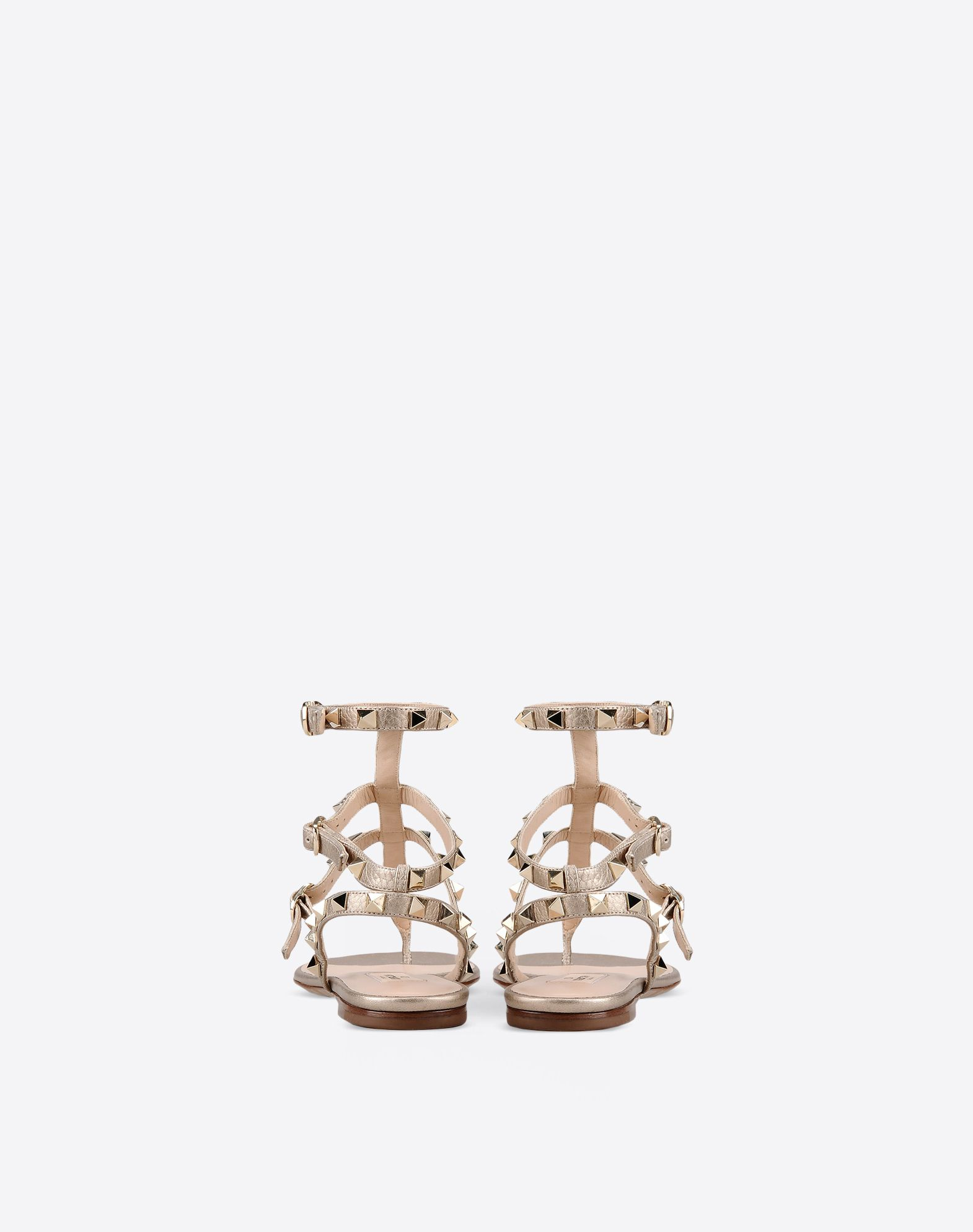 VALENTINO Studs Laminated effect Solid colour Buckling ankle strap closure Leather sole Round toeline  44921825dp