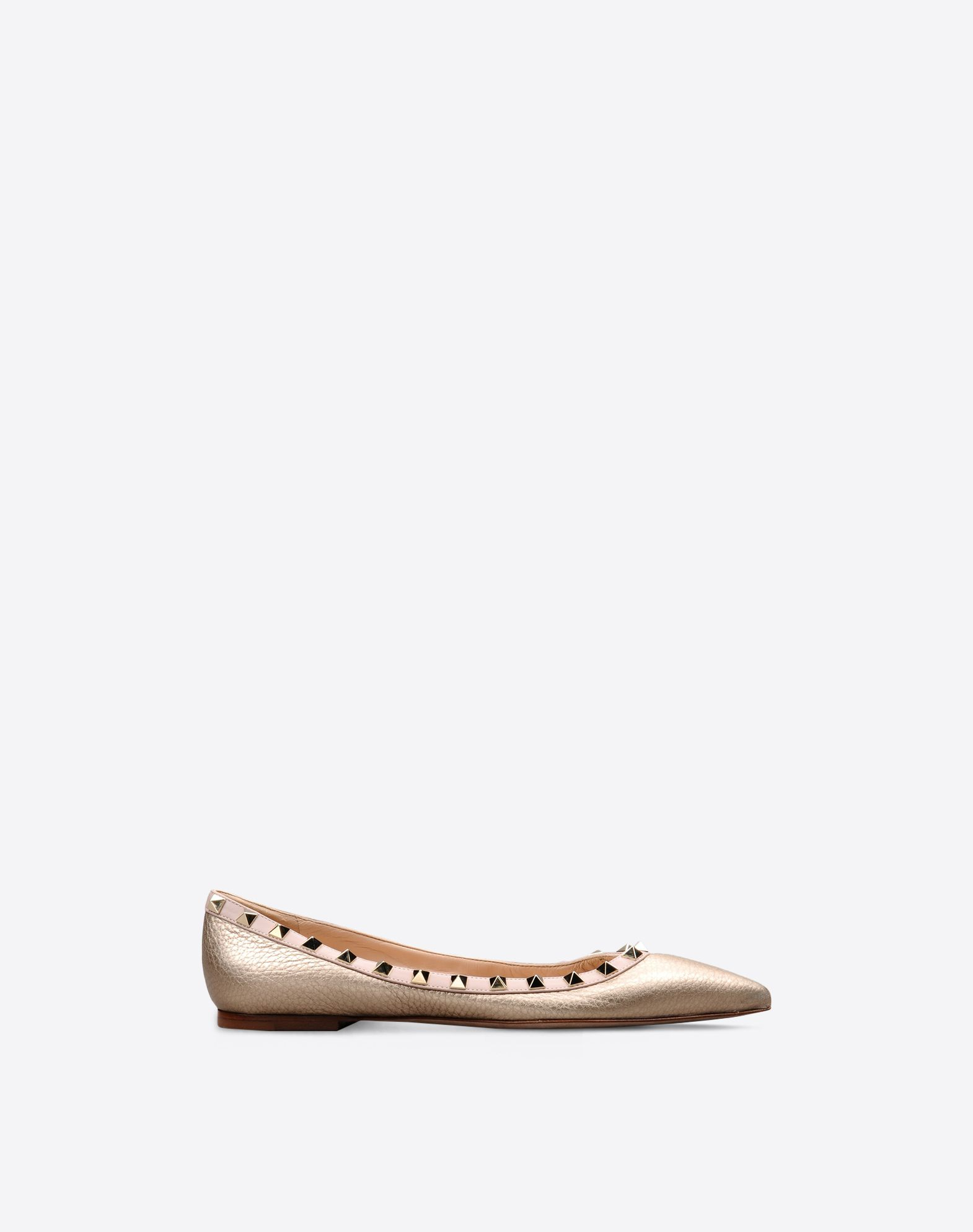 VALENTINO Laminated effect Studs Textured leather Solid colour Leather sole  Narrow toeline Flat heel 44921828bb