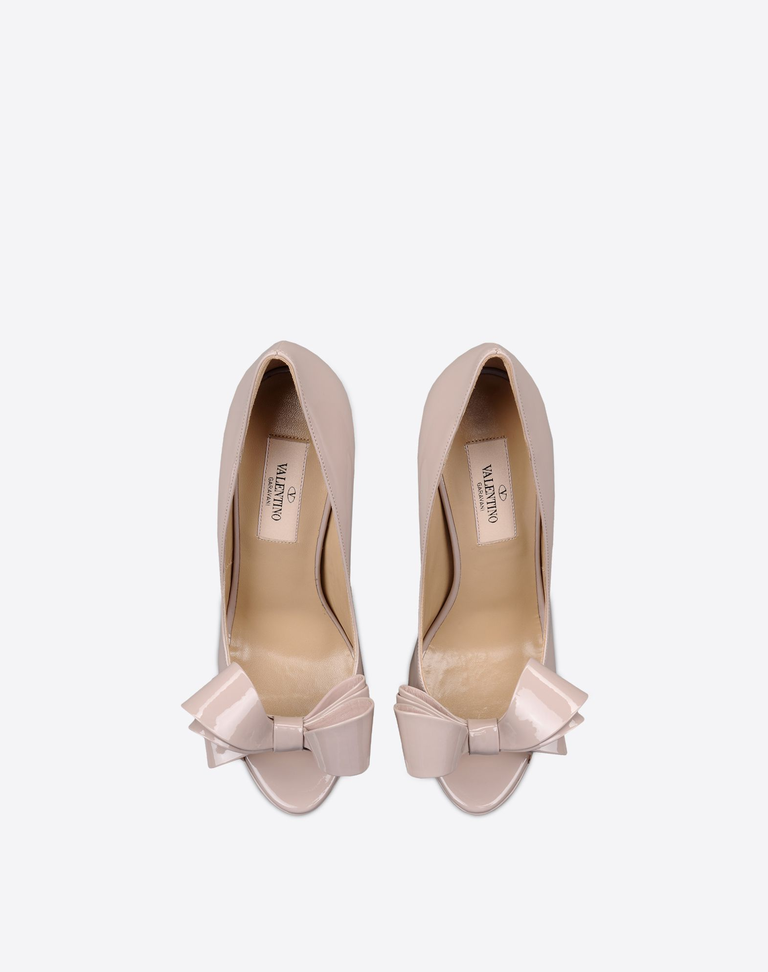 VALENTINO Bow detailing Varnished effect Solid color Leather sole Narrow toeline Spike heel  44921917as