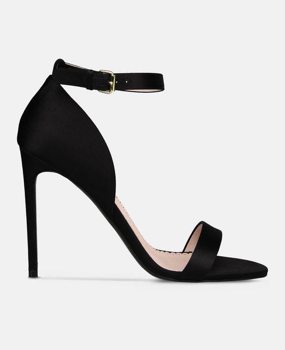 STELLA McCARTNEY Black Silk Satin Sandals Courts D c