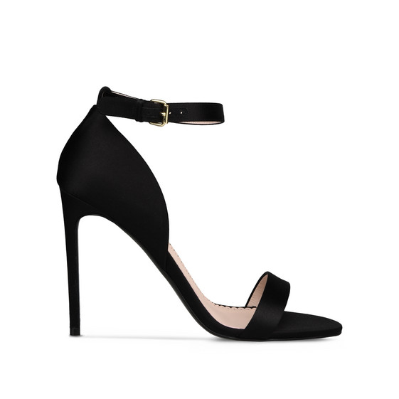Black Silk Satin Sandals