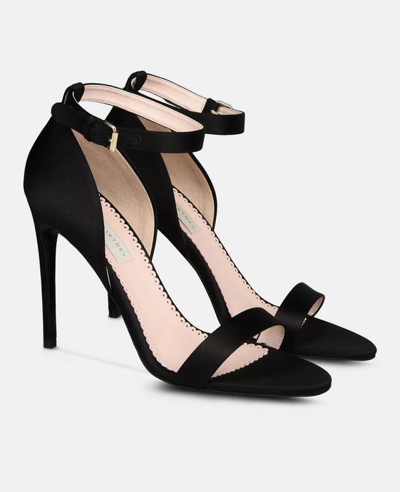 STELLA McCARTNEY Black Silk Satin Sandals Courts D h