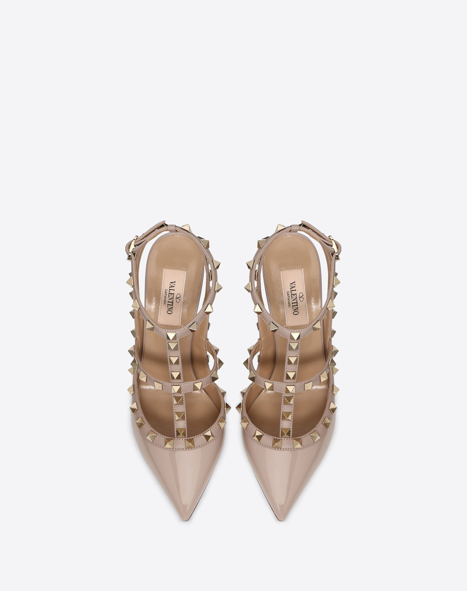 VALENTINO Varnished effect Studs Solid colour Buckling ankle strap closure Leather sole Narrow toeline Spike heel  44931701pb