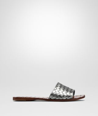 LIGHT SILVER INTRECCIATO CALF SANDALS
