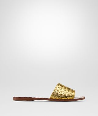 LIGHT GOLD INTRECCIATO CALF SANDALS
