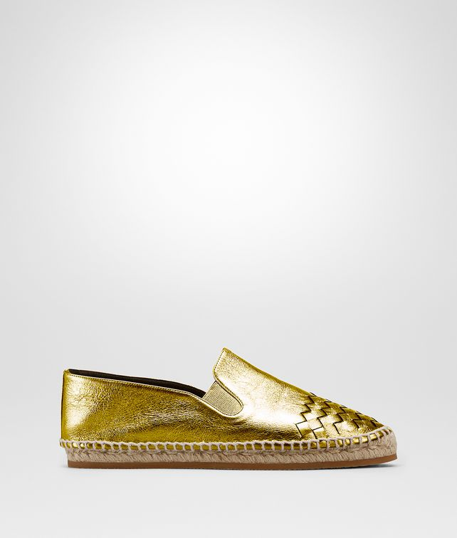BOTTEGA VENETA GALA ESPADRILLE IN LIGHT GOLD CALF INTRECCIATO Flat D fp