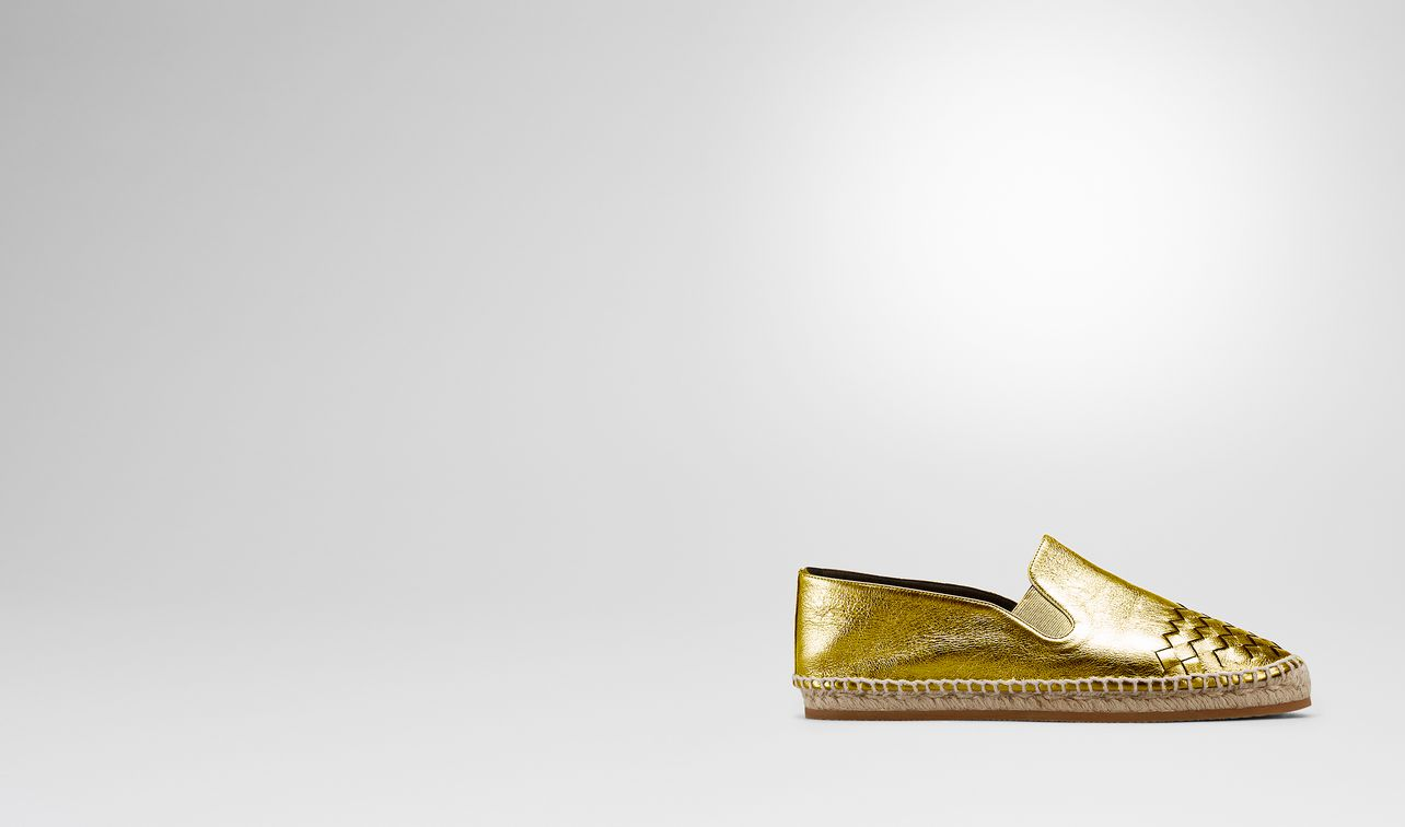 gala espadrille in light gold calf intrecciato landing