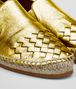 gala espadrille in light gold calf intrecciato Front Detail Portrait