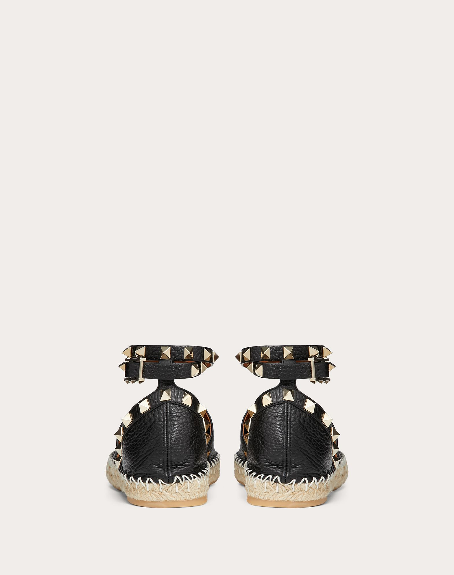 VALENTINO Studs Textured leather Buckling ankle strap closure Rubber sole Round toeline  44955739kg