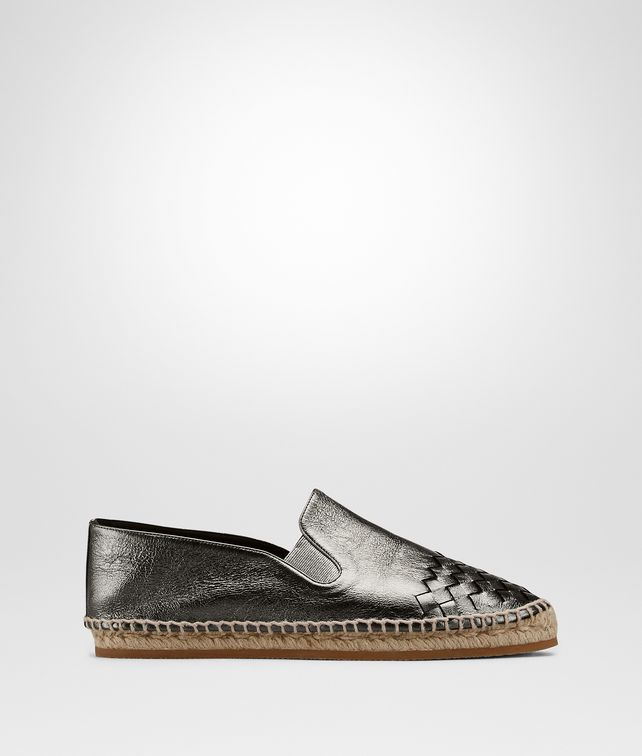 BOTTEGA VENETA GALA ESPADRILLE IN ARGENTO ANTIQUE CALF INTRECCIATO Flat D fp