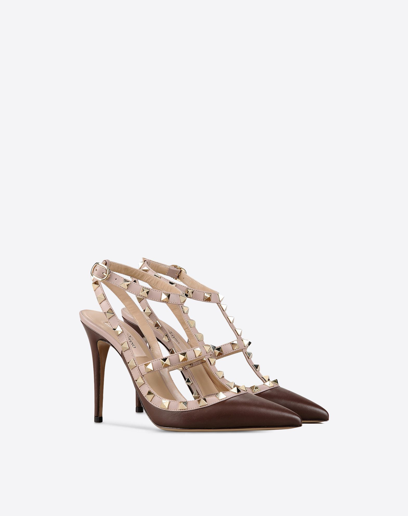 VALENTINO Contrasting applications Buckle Leather sole Narrow toeline Covered heel Two-tone pattern  44964107cg
