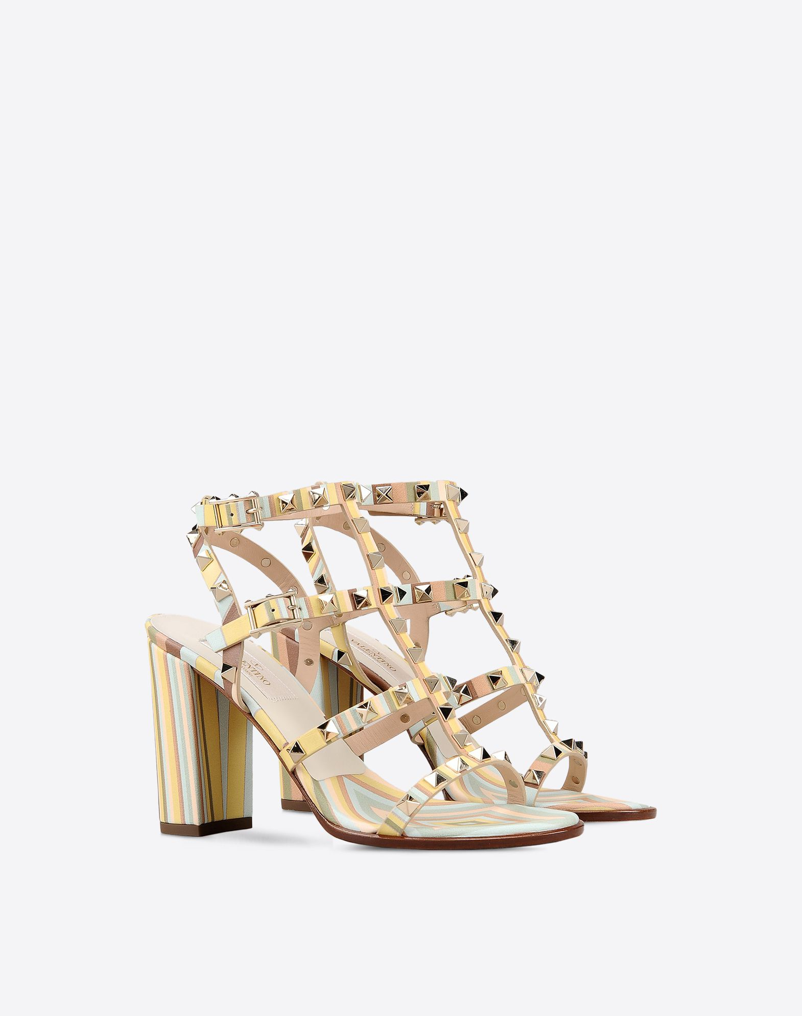 VALENTINO Studs Buckle Leather sole Covered heel Round toeline  44973092ke