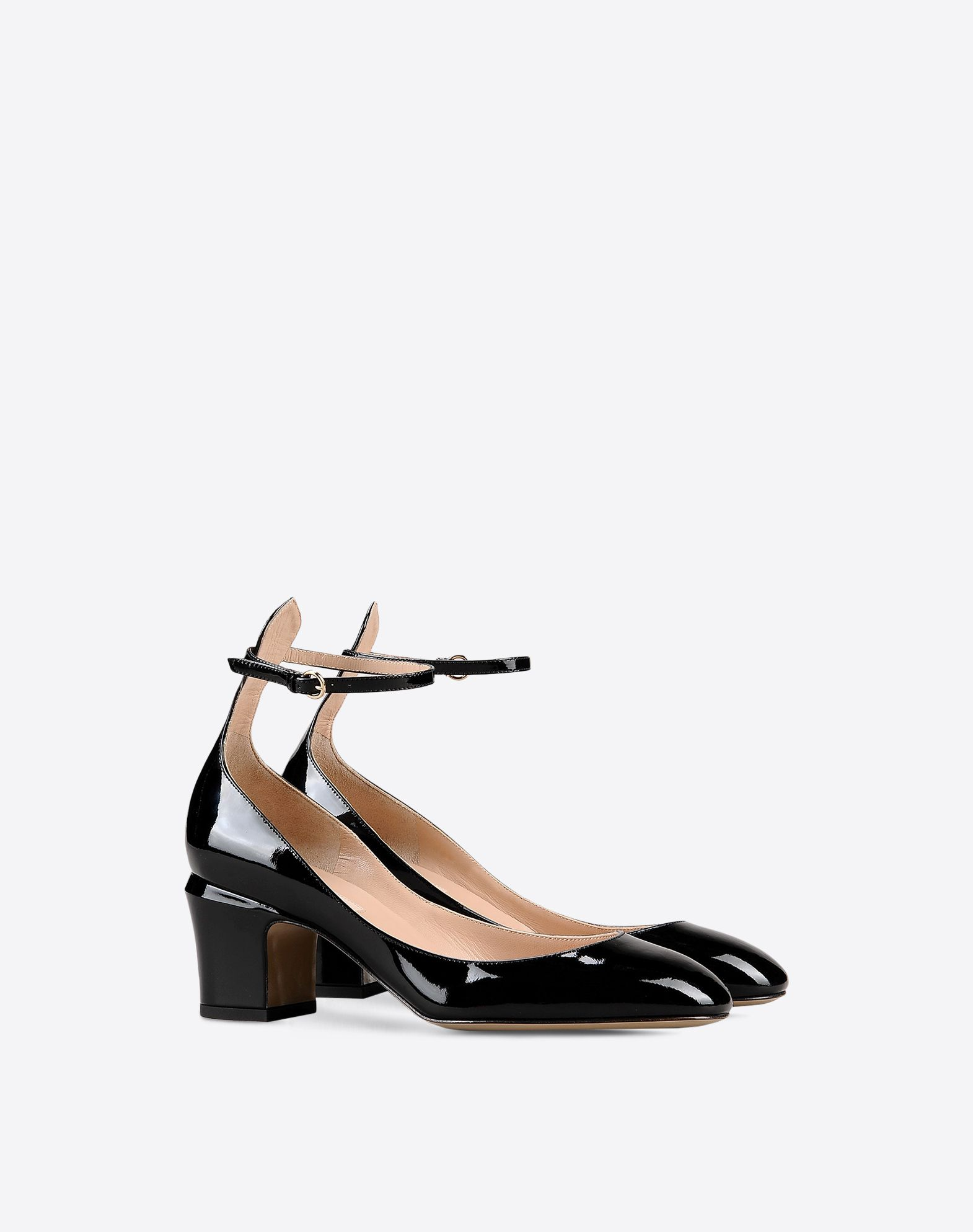 VALENTINO Varnished effect Leather Solid colour Buckling ankle strap closure Leather sole Round toeline Square heel  44976791bh