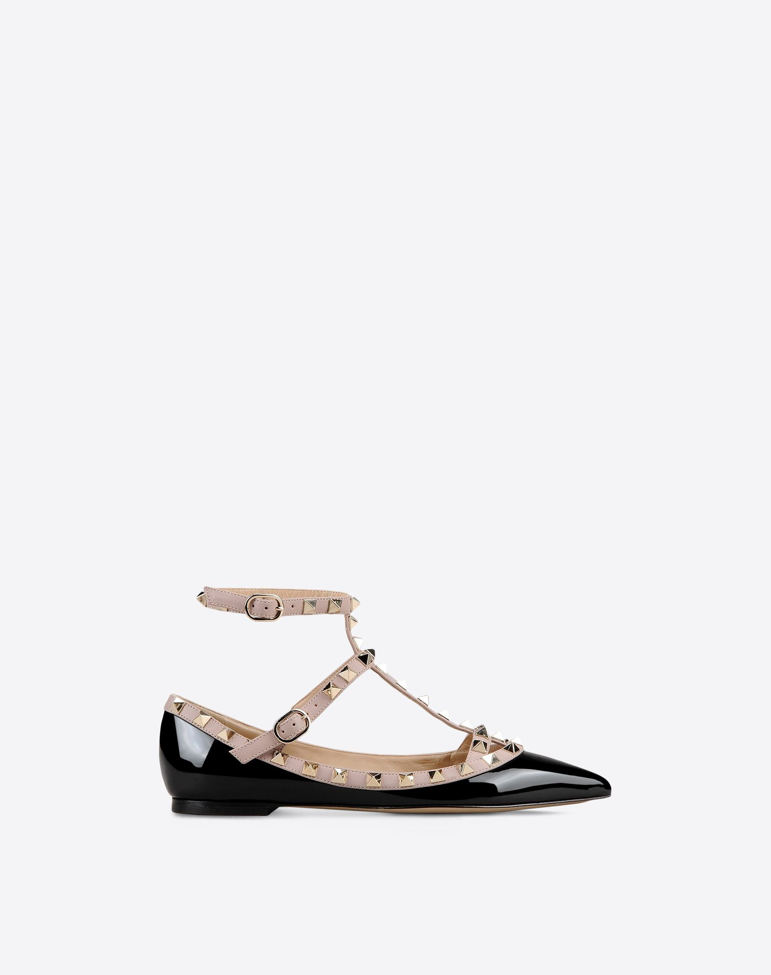 VALENTINO Varnished effect Two-tone pattern Studs Narrow toeline Leather sole Buckle  44980048mf