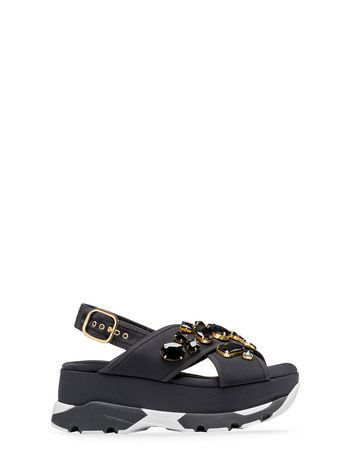 Marni Crossover sandal in technical fabric with piping Woman