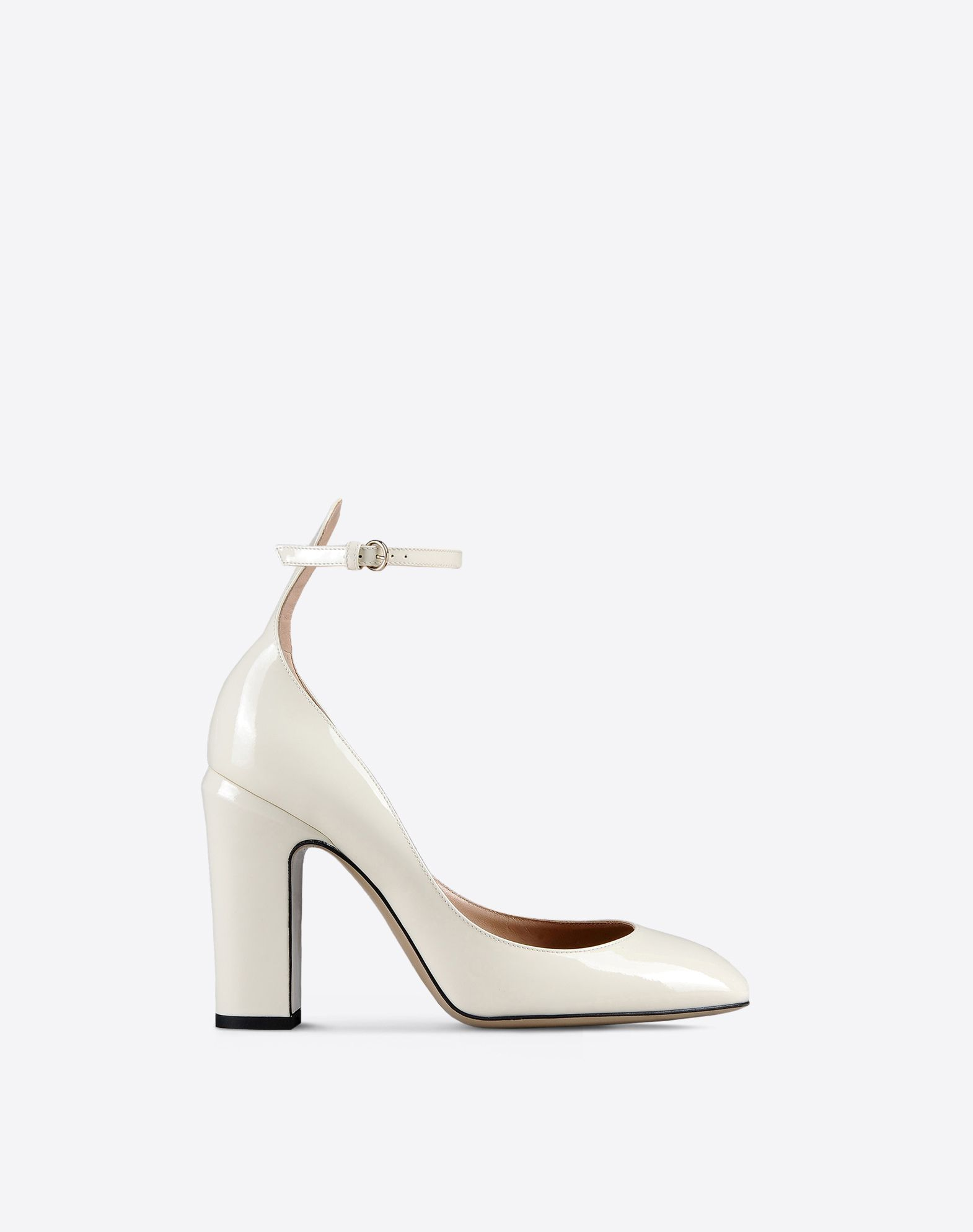 VALENTINO Varnished effect Solid colour Buckling ankle strap closure Leather sole Round toeline Covered heel  44986910vx