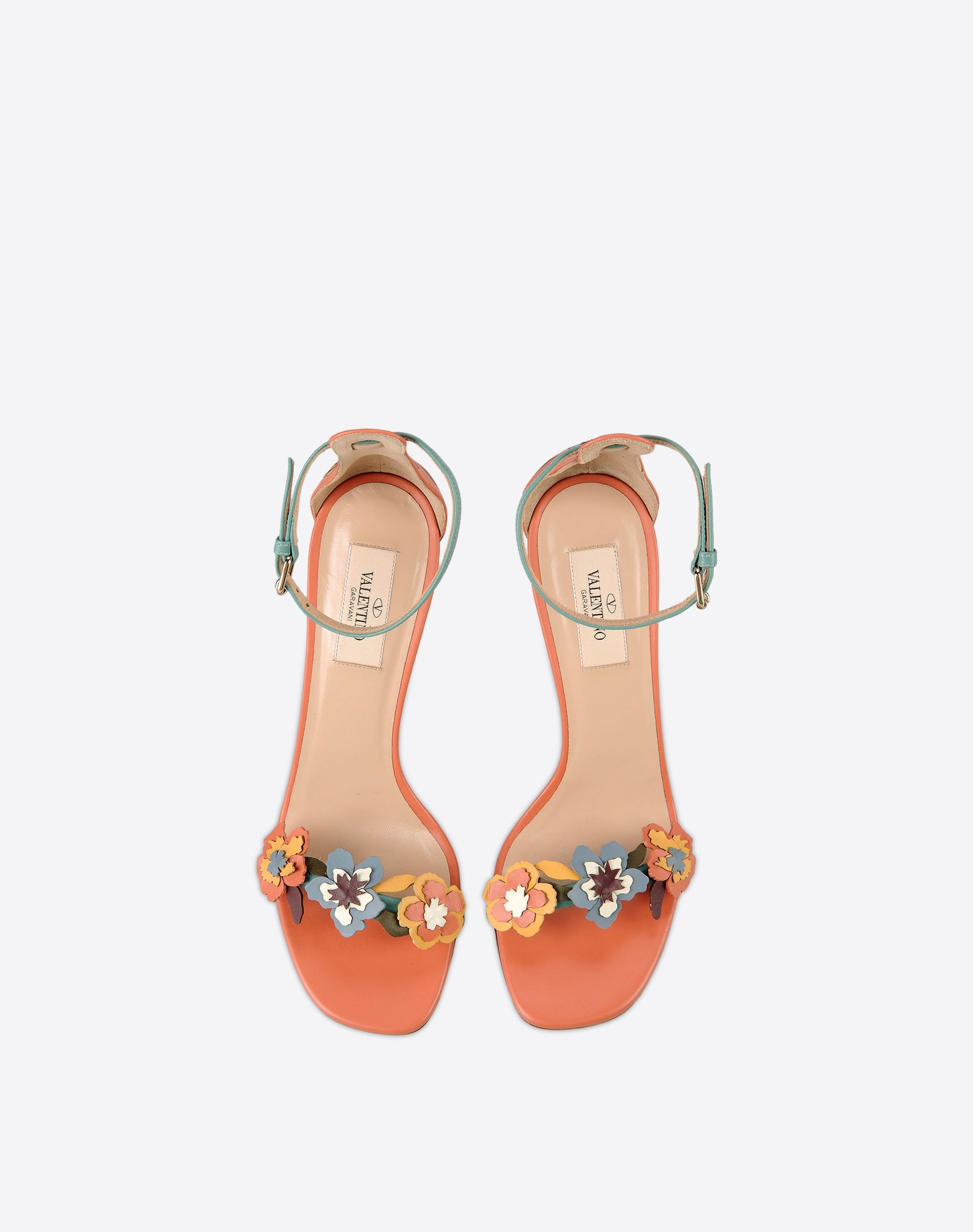 VALENTINO Floral design Buckling ankle strap closure Leather sole Spike heel  44988848ti