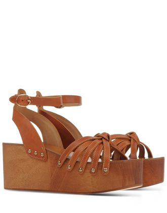 WOMAN ZIA LEATHER PLATFORM SANDALS TAN