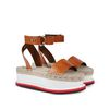 STELLA McCARTNEY Tan Raffia Wedges Sandals D r