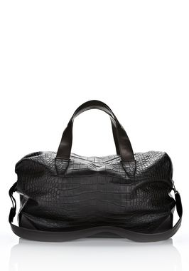 WALLIE DUFFLE IN BLACK EMBOSSED CROC  WITH RHODIUM