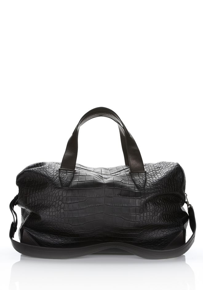 ALEXANDER WANG WALLIE DUFFLE IN BLACK EMBOSSED CROC  WITH RHODIUM Travel Adult 12_n_d