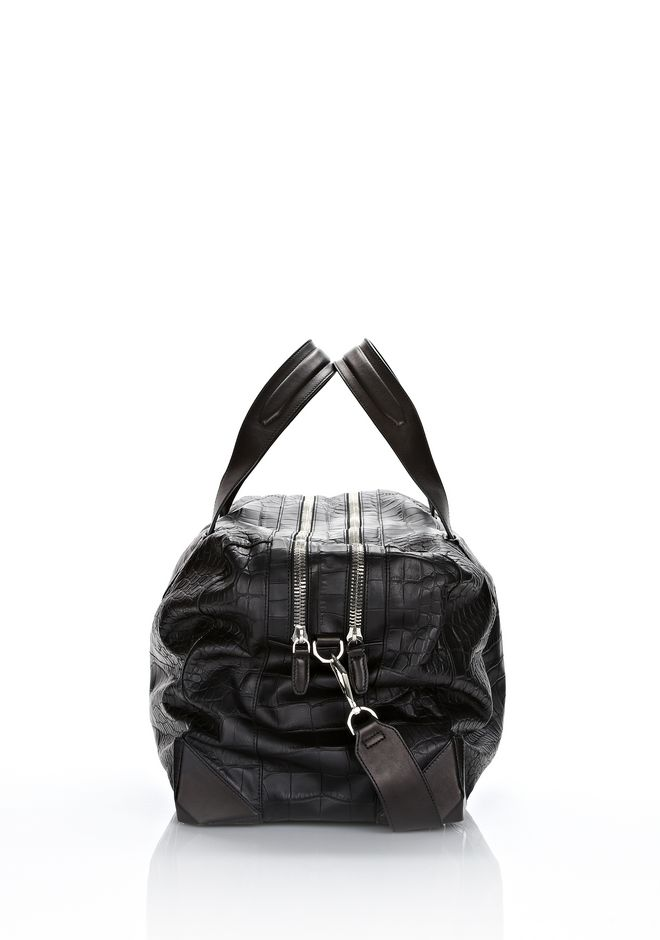 ALEXANDER WANG WALLIE DUFFLE IN BLACK EMBOSSED CROC  WITH RHODIUM Travel Adult 12_n_e