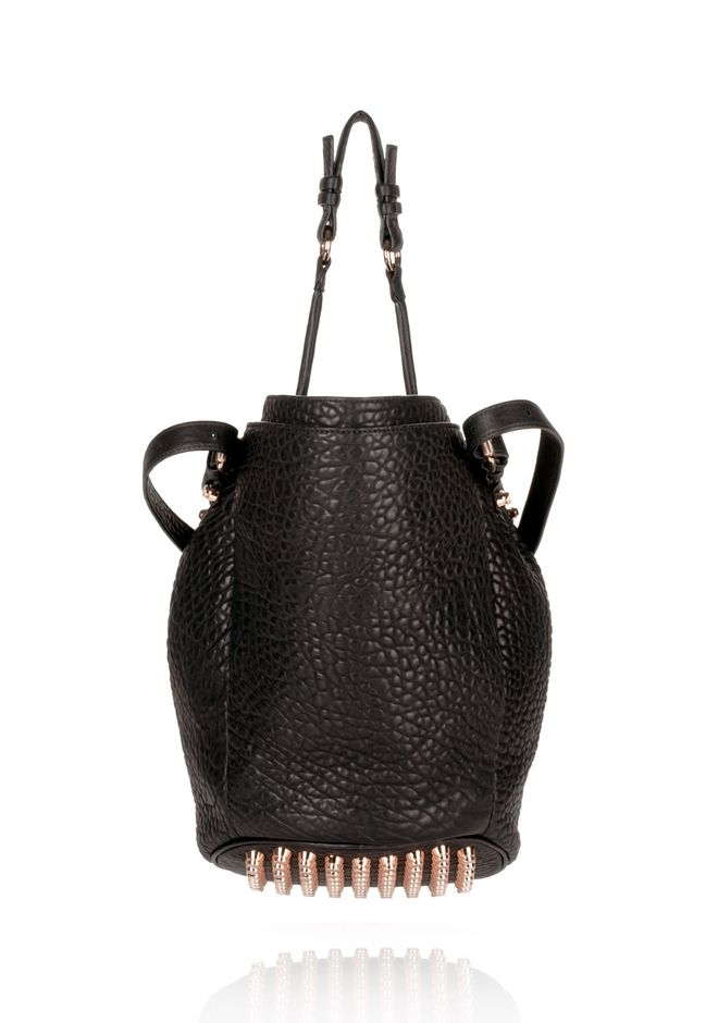 ALEXANDER WANG DIEGO IN BLACK PEBBLE WITH ROSEGOLD Shoulder bag Adult 12_n_d