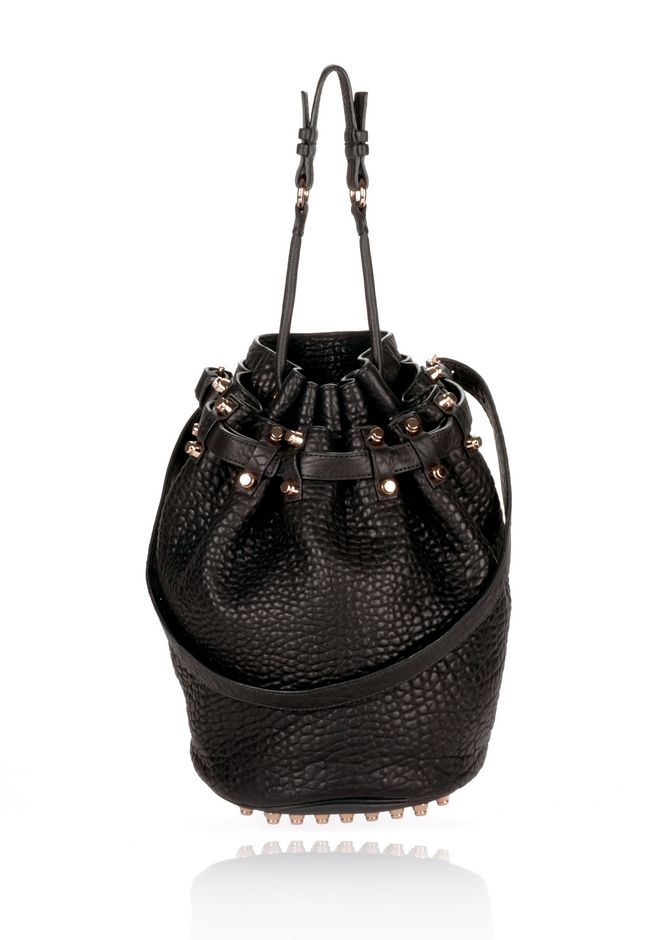 ALEXANDER WANG DIEGO IN BLACK PEBBLE WITH ROSEGOLD Shoulder bag Adult 12_n_f
