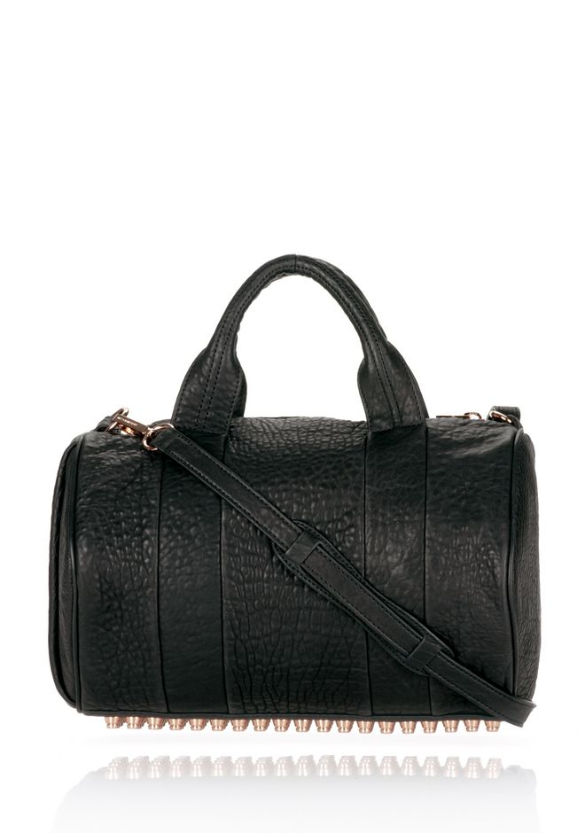 ALEXANDER WANG rockie-rocco ROCCO IN BLACK PEBBLE LAMB WITH ROSEGOLD