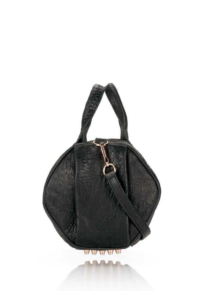 ALEXANDER WANG ROCCO IN BLACK PEBBLE LAMB WITH ROSEGOLD Shoulder bag Adult 12_n_d