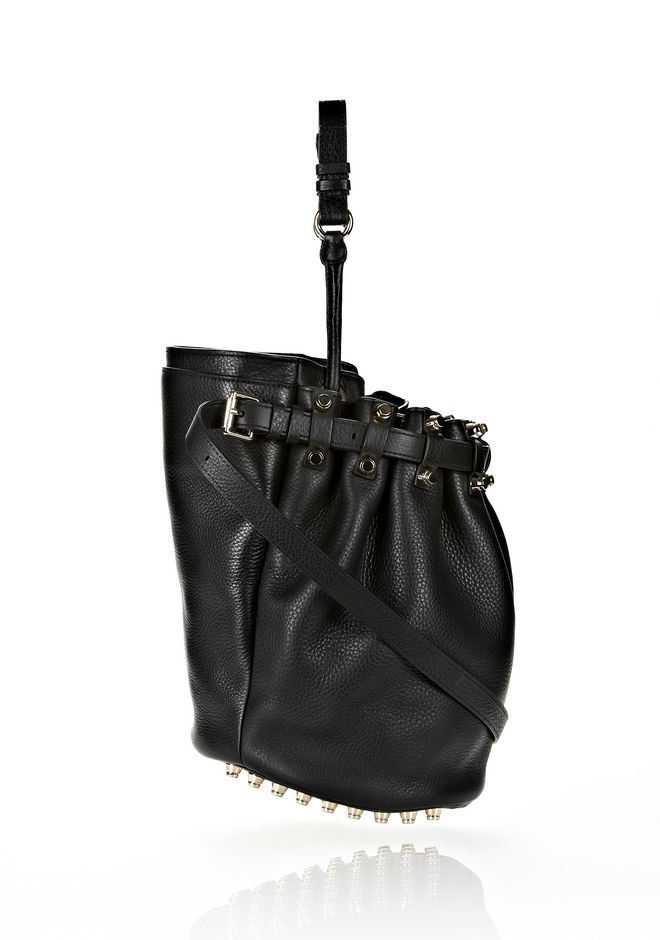 ALEXANDER WANG DIEGO IN BLACK SOFT PEBBLE LEATHER WITH PALE GOLD Shoulder bag Adult 12_n_e