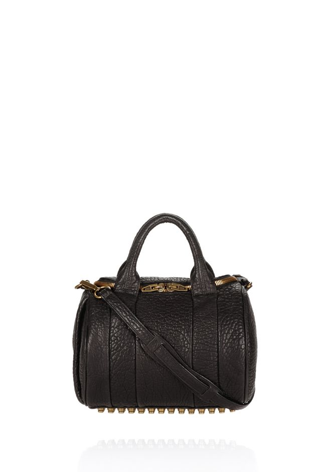 ALEXANDER WANG rockie-rocco ROCKIE IN PEBBLED BLACK WITH ANTIQUE BRASS
