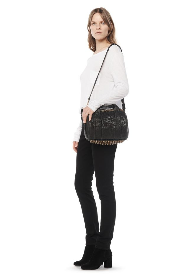 ALEXANDER WANG ROCKIE IN PEBBLED BLACK WITH ANTIQUE BRASS Shoulder bag Adult 12_n_r