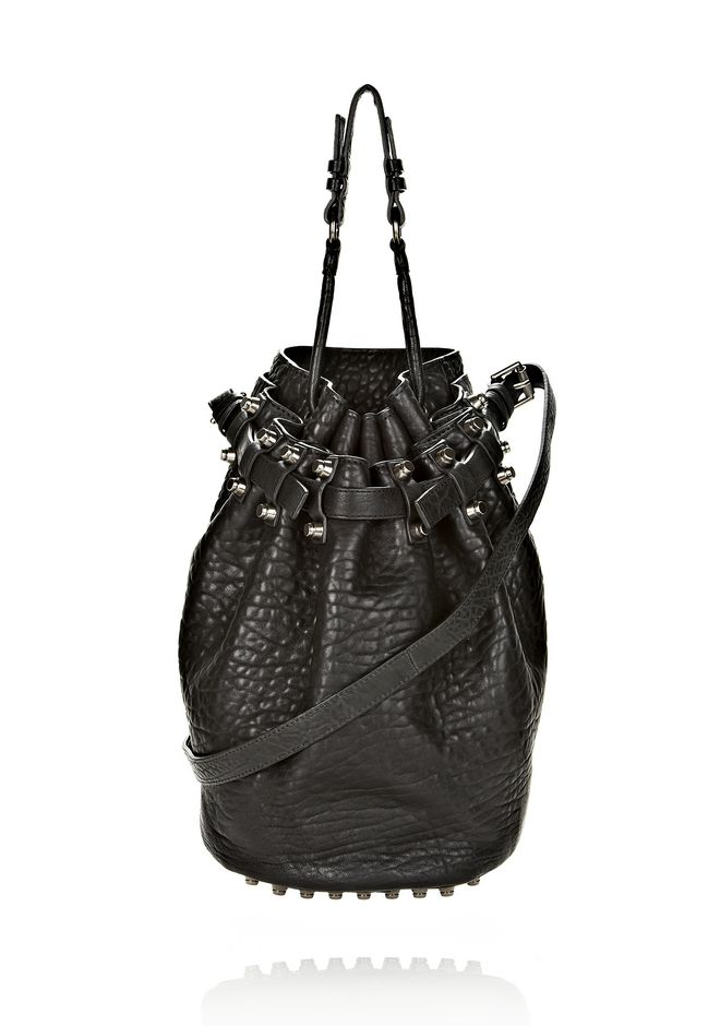 ALEXANDER WANG bags-classics DIEGO IN BLACK PEBBLE LEATHER WITH BLACK NICKEL