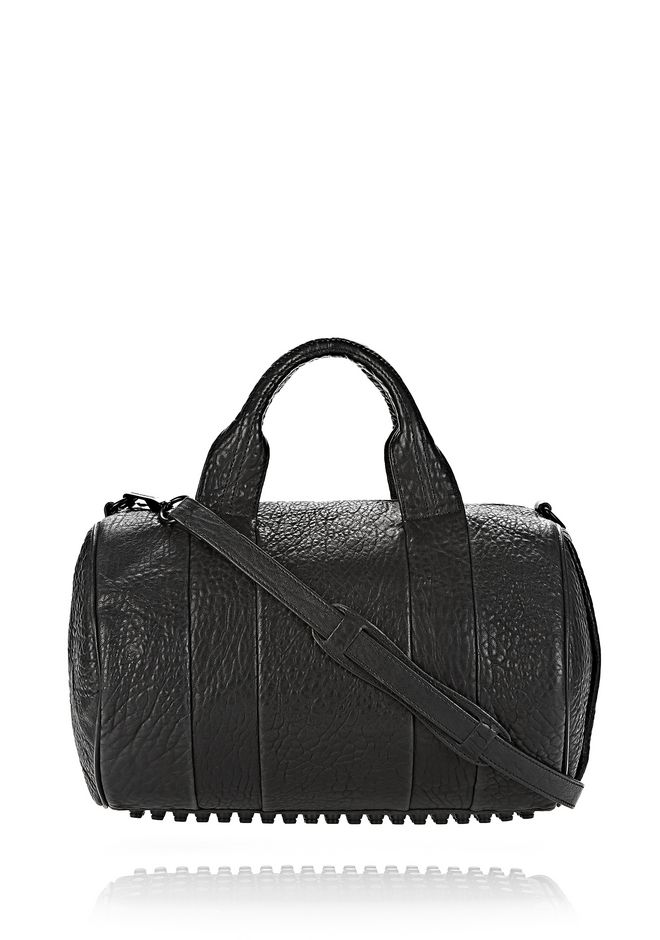 ALEXANDER WANG rockie-rocco ROCCO IN BLACK PEBBLE LAMB WITH MATTE BLACK