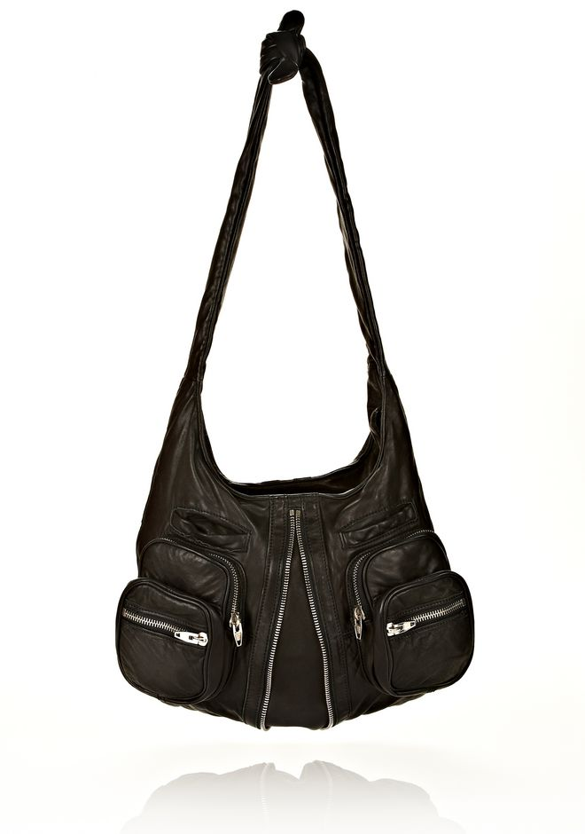 ALEXANDER WANG DONNA IN WASHED BLACK WITH RHODIUM  Shoulder bag Adult 12_n_f