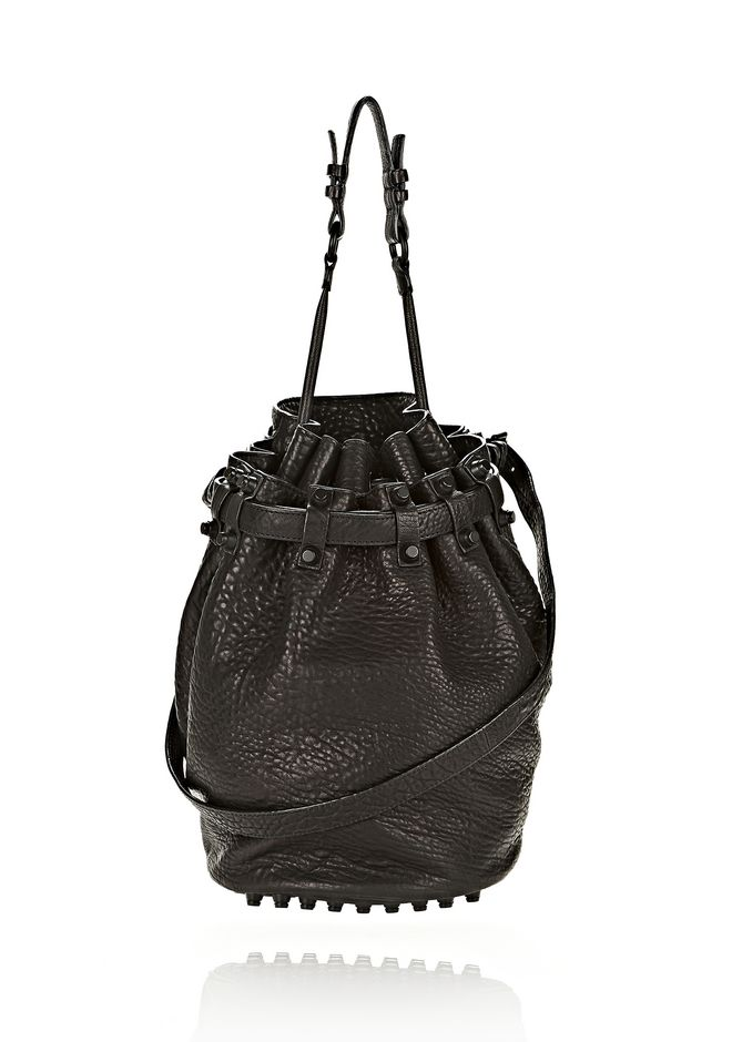 ALEXANDER WANG bags-classics DIEGO IN BLACK PEBBLE LEATHER WITH MATTE BLACK