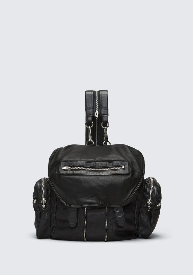 ALEXANDER WANG bags-classics MARTI BACKPACK IN WASHED BLACK  WITH RHODIUM