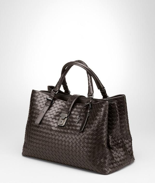 BOTTEGA VENETA Nero Light Calf Intrecciato Roma Bag Top Handle Bag D fp