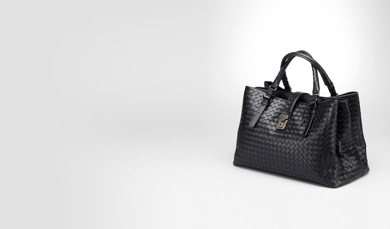 BOTTEGA VENETA Top Handle Bag D Nero Light Calf Intrecciato Roma Bag pl