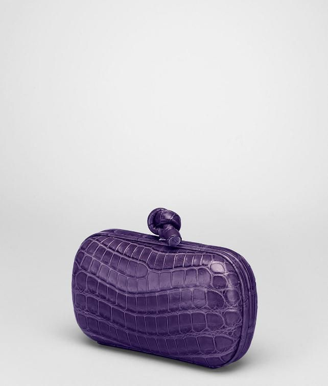 BOTTEGA VENETA Soft Crocodile Fumé Knot Clutch D fp