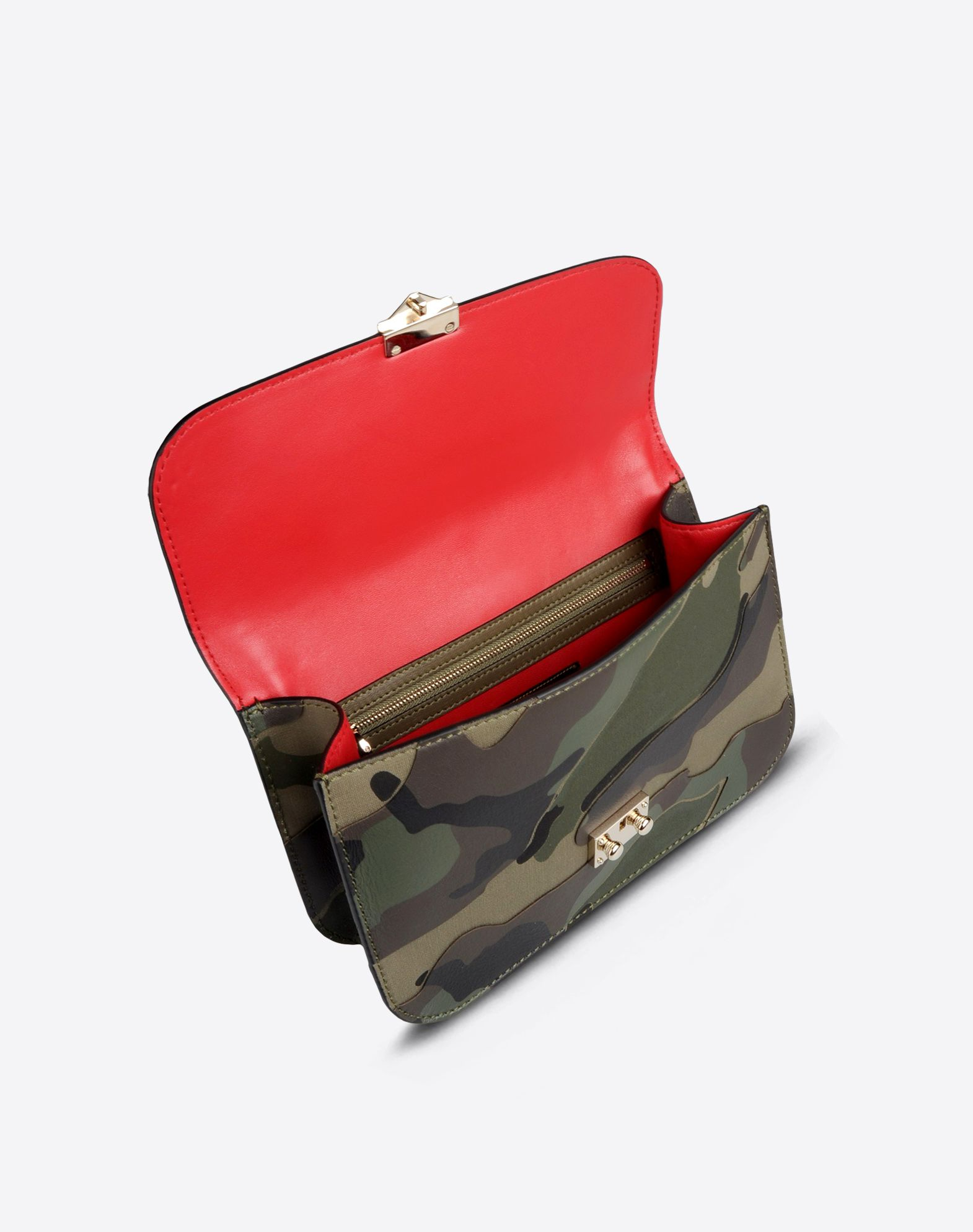 VALENTINO Canvas Camouflage design Framed closure Lined interior Double handle Metallic inserts Logo detail  45199646qc