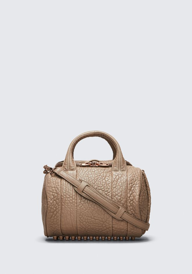 ROCKIE IN PEBBLED LATTE WITH ROSE GOLD | Shoulder Bag | Alexander ...