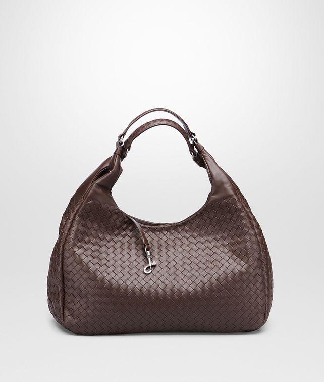 BOTTEGA VENETA Campana Bag Ebano in Nappa Intrecciata Borsa a spalla D fp